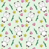Kawaii background with cute pandas Stock Photo