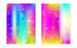 Kawaii background with rainbow princess gradient. Magic unicorn. Hologram. Holographic fairy set. Spectrum fantasy cover. Kawaii background with sparkles and vector illustration