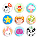Kawaii badges. Set of badges with the cute japanese style characters Royalty Free Stock Image