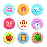 Kawaii badges - Set II Stock Photos