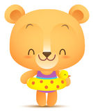 Kawaii Bear with swimming balloon Royalty Free Stock Images