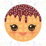 Kawaii Belgium round waffles with pink cheeks and eyes, pastel colors on white background. Vector Stock Image