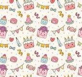 Kawaii birthday stuff seamless pattern royalty free illustration