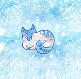Beautiful floral card with white polar fox in cartoon style in the jungle. Blue decorative background. Kawaii blue cat or fox with Miu text. Fantasy print with royalty free stock photography