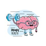 Kawaii brain with glasses and dumbbells design. Vector illusration Stock Image