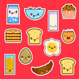 Kawaii Breakfast Food Set Cute faces emotion. Royalty Free Stock Photo