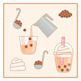 Kawaii Bubble milk tea. Kawaii Brewing process Bubble milk tea stock illustration