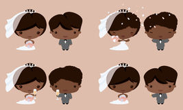 Kawaii Bride and Groom African Asian Stock Image