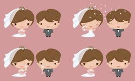 Kawaii Bride and Groom Royalty Free Stock Photos