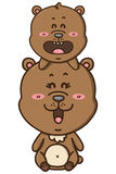 Kawaii brown bears. Royalty Free Stock Photo