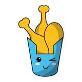 Kawaii bucket fried chicken Royalty Free Stock Image