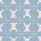 Kawaii bunnies vector repeat pattern in pastel colors vector illustration