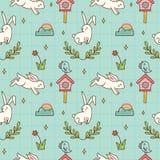 Kawaii bunny and bird seamless pattern stock illustration