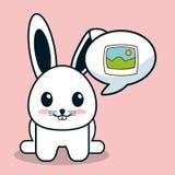 Kawaii bunny bubble speech image Royalty Free Stock Images
