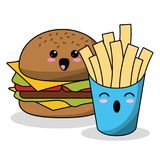 Kawaii burger french fries image. Vector illustration eps 10 Royalty Free Stock Image