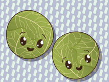 Kawaii cabbage icons Royalty Free Stock Photos