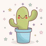 Kawaii cactus icon. Kawaii cactus in a pot icon over gray background. colorful design. vector illustration Royalty Free Illustration