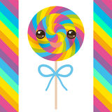 Kawaii candy lollipops with bow, colorful spiral candy cane with bright rainbow stripes. on stick with twisted design on white bac Stock Photos