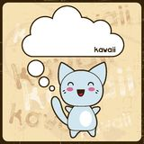 Kawaii card with cute cat on the grunge background Stock Photography