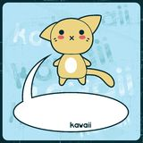 Kawaii card with cute cat on the grunge background Royalty Free Stock Photo