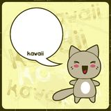 Kawaii card with cute cat on the grunge background Royalty Free Stock Images
