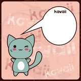 Kawaii card with cute cat on the grunge background Royalty Free Stock Photography