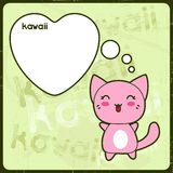 Kawaii card with cute cat on the grunge background Royalty Free Stock Image