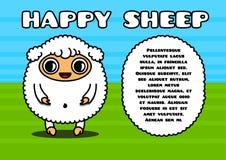 Kawaii card with sheep character Stock Photography