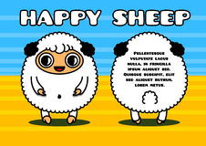 Kawaii card with sheep characters Stock Photo