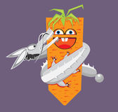Kawaii carrot and dragon-like rabbit Royalty Free Stock Photos