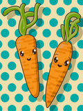 Kawaii carrot icons Royalty Free Stock Photography
