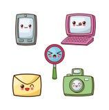 Kawaii cartoon icon set. Technology and Social media. Vector gra Stock Image