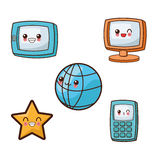 Kawaii cartoon icon set. Technology and Social media. Vector gra Stock Photo