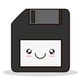 Kawaii cartoon technology design. Diskette kawaii cartoon smiling technology icon. Colorful and flat design. Vector illustration Stock Image