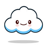 Kawaii cartoon white emoticon cute cloud. Royalty Free Stock Images