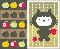 Kawaii cat with apples pattern. Stock Photography