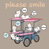 Kawaii cats and freight vehicle vector illustration