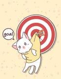Kawaii cel z strzałą i kot ilustracji
