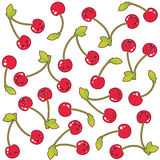 Kawaii cherries seamless pattern. Kawaii cherries drawing, summer background concept Royalty Free Stock Images
