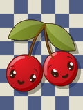 Kawaii cherry icons Royalty Free Stock Image