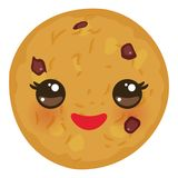 Kawaii Chocolate chip cookie Freshly baked isolated on white background. Cute face with pink cheeks and eyes. Bright colors. Vecto vector illustration