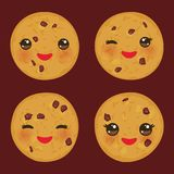 Kawaii Chocolate chip cookie set Freshly baked isolated on brown background. Cute face with pink cheeks and eyes. Bright colors. V royalty free illustration