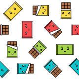 Kawaii chocolate seamless pattern colorful character Royalty Free Stock Photo