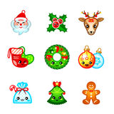 Kawaii Christmas icons Royalty Free Stock Photography
