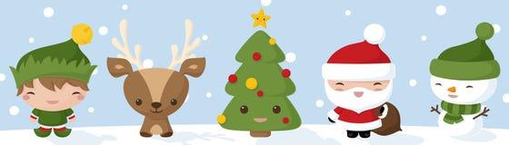 Kawaii Christmas Icons Stock Photography