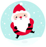 Kawaii Christmas Santa on snowing background Royalty Free Stock Photography