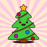 Kawaii Christmas tree with smiling face Stock Photography