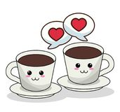 Kawaii coffee cups and bubble speech image. Vector illustration eps 10 Royalty Free Stock Image
