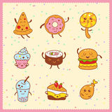 Kawaii collection of sweet and dessert doodle icon, cute cake, a Stock Photos