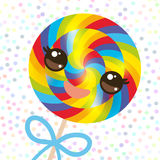 Kawaii colorful candy lollipop with bow, spiral candy cane. Candy on stick with twisted design with pink cheeks and winking eyes, Royalty Free Stock Photography